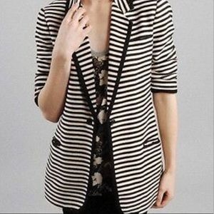 Elizabeth & James stripe jacket ruched sleeves